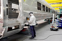 Germany, Krefeld-Uerdingen, 28.04.20 Building of a passenger car in the workshops of new high-speed train of the ICE 3 M/Velaro D - UERDINGEN, Nordrhe...