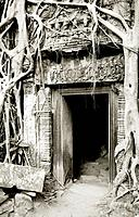 Doorway in Ta Prohm. The Temples of Angkor in Cambodia.