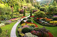 CANADA, BRITISH COLUMBIA, VANCOUVER ISLAND NEAR VICTORIA, BUTCHART GARDENS, VIEW OF SUNKEN GARDEN.