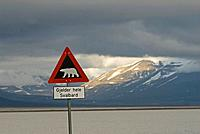 Norway, Svalbard Archipelago, Spitsbergen, Longyearbyen. Caution sign about the danger of polar bears in the area.