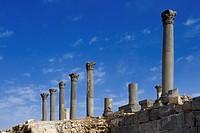 The Basilica Terrace contains the ruins of an ancient Byzantine church, Ruins of Umm Qays, Roman City, Jordan, Arabia - IRBID, JORDANIEN, 10/01/2008