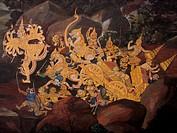 Asien, Thailand, Bangkok, Buddhistischer Tempel, Wat Phra Kaeo, Wandmalerei, Ramakien - Bangkok, Thailand, 13/09/2005
