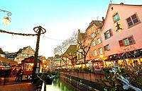 Christmas market and lights decoration at the city center. Colmar. Wine route. Haut-Rhin. Alsace. France.