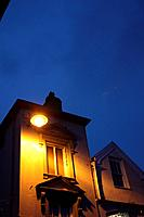 house with street lamp at night in caernarfon wales great britain uk