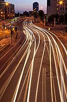 Traffic at night,Vauxhall,London,England.