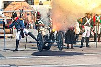 French troops firing cannon on the battlefield during the Representation of the Battle of Bailen, Bailen, Jaen province, Andalusia, Spain.