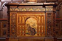 Abbazia di Monte Oliveto Maggiore Abbey, inlaid wood in the sacristy, Monte Oliveto Maggiore, Buonconvento, Crete Senesi, Tuscany region, province of ...