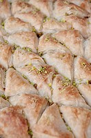Sweet puff pastry covered with pistachio, capital Amman, Jordan, Middle East, Asia