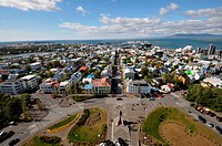 View from Hallgrims church onto the city, Reykjavik, Iceland, Europe