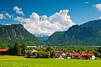 Bavaria, Germany, Europe, Upper Bavaria, Chiemgau, Inzell, sky, Alps, mountains, mountain panorama, mountains, stadium, arena