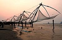 Chinese fishing nets at dusk, Fort Cochin, Kerala, South India.