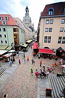 Germany, Saxony, Dresden, Muenzgasse Street with Restaurants