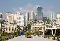 Azerbaijan, Caucasus, Eurasia, Baku, architecture, avenue, city, empty, modern, new, park, pond, skyline, terrace