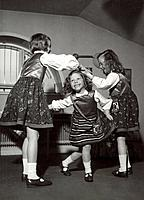Princesses Margaretha, Desiree and Birgitta of Sweden dancing, April 1943. Princess Margaretha (1934-), Princess Desiree (1938-) and Princess Birgitta...