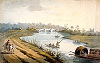 River Thames near Chertsey, Surrey, c1820. View showing Chertsey Bridge in the distance and people on boats and barges on the water.