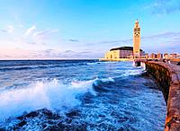 Hassan II Mosque during the sunset in Casablanca, Morocco, Africa.