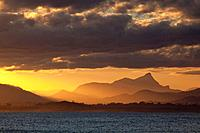 Mt Warning sunset from The Pass, Byron Bay, New South Wales, Australia.