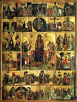 'The Glorification of the Virgin', (Akathist Hymn to the Most Holy Theotokos), 14th century. Russian icon. Found in the collection of the Cathedral of...