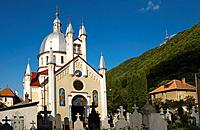 Brasov, Transylvania, Romania. Orthodox Church and Graveyard.