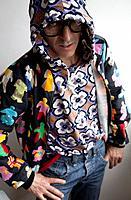 Man in Clashing Pattern Fashion.