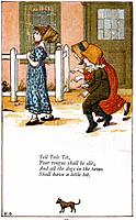 Illustration for 'Tell tale tit/your tounge shall be slit', Kate Greenaway (1846-1901). For a book of nursery rhymes.