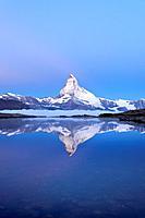 Mt Matterhorn reflected in Stellisee Lake at dusk, Zermatt, Canton of Valais, Switzerland