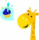 Cute yellow cartoon party giraffe with Candy