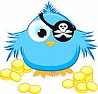Cartoon pirate sparrow with gold coins