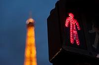 Eiffel Tower lights, Paris, France.