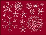 Red set of snowflakes