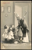 SAINT NICOLAS visits some children and gives them presents