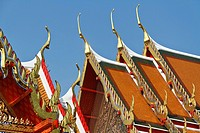 Crested Roofs in the Temple Wat Pho in Bangkok, Thailand