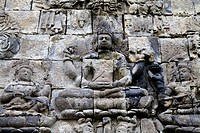 Wall Relief of the Buddhist Temple Candi Mendut in Indonesia