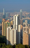 High-rising residential buildings and office towers in the Central District, Hong Kong.