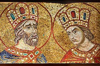 14th century mosaics of the profets David & Solomon from the South Wall of the Ante Baptsitery. Basilica San Marco ( St Mark's Basilica ) Venice, Ital...
