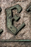 Carved letter E