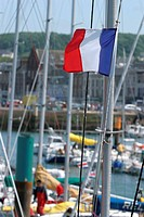 French flag on sailing boat