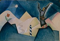 Stage design for the theatre play by Aleksey Remizov. Found in the collection of the State Museum of Theatre and Music Art, St. Petersburg.