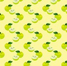 Seamless pattern with apples on the green background.