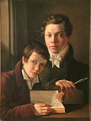 Self-Portrait with brother, 1814. Found in the collection of the Museum of Fine Arts Academy, St. Petersburg.