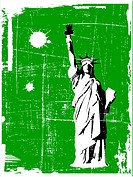 grunge vector Statue of Liberty