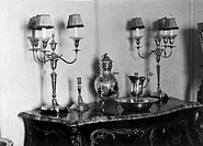 Silver candelabras and candlesticks, also Russian samovar and silver dish with ewer, used at the christening of King Christian IX (father of Queen Ale...