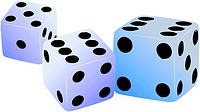 Three dices. Vector illustration