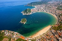 Aerial view of Concha Bay, Donostia - San Sebastian, Basque Country.