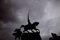Silhouette of the equestrian statue in Camag³ey, Cuba, Caribbean,