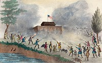 Attack of the Seminoles on the block house. Print shows an attack by the Seminole Indians possibly on a fort on the Withlacoochee River in December 18...