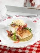Salt-cod with pureed artichoke bases,Spanish ham and rocket lettuce
