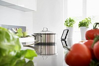 Germany, Cologne, Pot and vegetables on kitchen surface