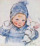 Goodbye, Daddy, by Muriel Dawson -- a toddler in blue with a toy rabbit.