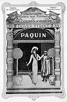 Advertisement for the fashion house, Paquin, 'dressmakers, milliners and furriers to the Courts of Europe' with branches in Paris and London (at 39 Do...